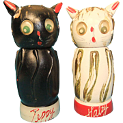 Vintage Wooden Salt and Pepper Shakers, Salty and Peppy, 1950s