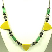 SOLD Green and Yellow Jakob Bengel Galalith Necklace