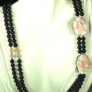 SALE Vintage Glass Bead and Inlaid Laminated Glass Necklace