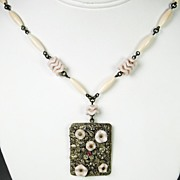 Vintage Light Pink Glass Czech Necklace