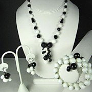 SALE Miriam Haskell Black and White Glass Bead Necklace, Bracelet, and Earrings