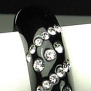 Kenneth Jay Lane Black Plastic and Inset Rhinestone Clamper Bracelet
