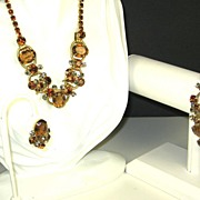 SALE Vintage Juliana Style Amber Glass Necklace, Bracelet, and Earrings