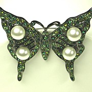 SALE Kenneth Jay Lane Imitation Pearl Butterfly Brooch