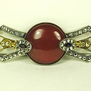 SALE Vintage French Art Deco Carnelian and Rhinestone Pin
