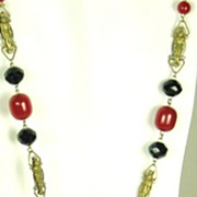 SALE Art Deco Egyptian Revival French Bakelite and Enamel Necklace