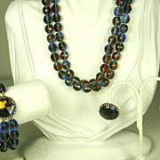 SALE Hattie Carnegie Rose Cut Dichroic Bead Necklace, Bracelet, and Earrings