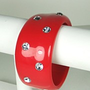 Red Celluloid and Large Chaton Bangle Bracelet