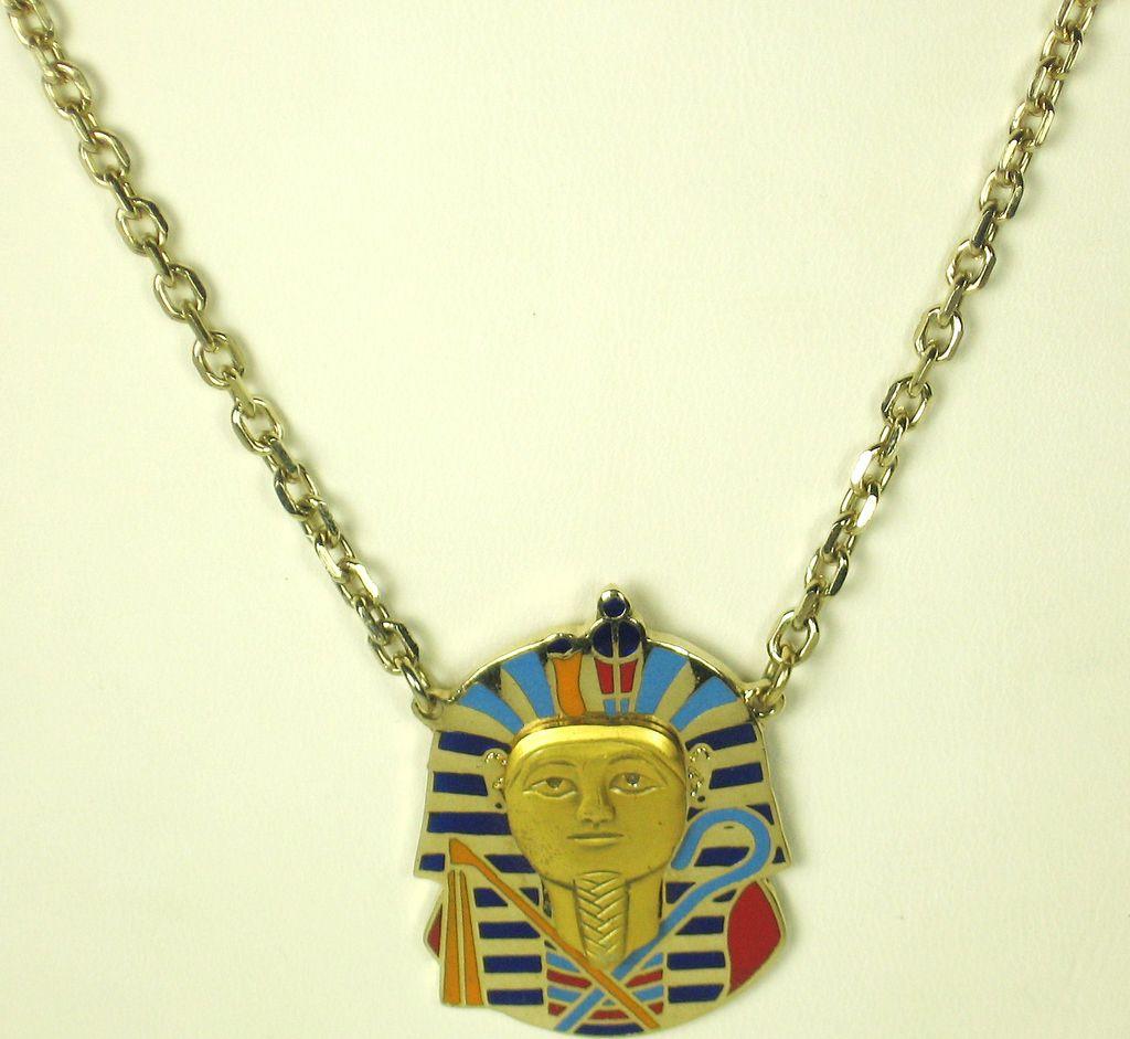 Cloisart Vintage Enamel King Tut Pharaoh Pendant Necklace
