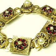 SALE Vintage Red Rhinestone and Imitation Pearl Floral Bracelet