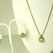 SALE Vintage Emerald Cut Gemstone Necklace and Earrings Set
