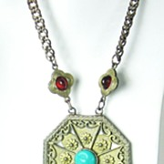 Vintage Hattie Carnegie Egyptian Revival Dangle Necklace