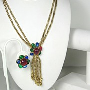 SALE Hattie Carnegie Poured Glass and Rhinestone Necklace, Bracelet, and Earrings Set