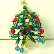 SALE Vintage Hattie Carnegie Three Dimensional Enamel Christmas Tree Pin