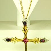 SALE Vintage Jomaz Jeweled Cross Pin Pendant Necklace