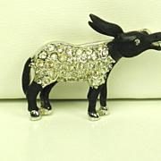 SALE Hattie Carnegie Black Enamel and Rhinestone Donkey Pin