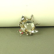 SALE Vintage 1940s Trifari Jelly Belly Sterling Fly Pin