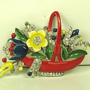 SALE 1940 Trifari Enameled Flower Basket Fur Clip