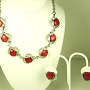 Vintage Star Floral Necklace and Earrings Set