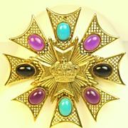 Unique Rare Vintage Hattie Carnegie Plastic Stone and Crown Brooch