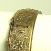 SALE Hinged Carved Gold Tone Metal Floral Bracelet
