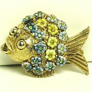 Hattie Carnegie Yellow and Blue Enamel Flower Fish Pin