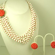 SALE Hattie Carnegie White and Coral Glass Necklace and Earrings