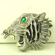 SALE Rare Hattie Carnegie Enamel Roaring Tiger Pin