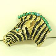 SALE Hattie Carnegie Black Enamel Zebra Pin