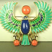 SALE Hattie Carnegie Enamel Egyptian Revival Falcon Pendant/Pin
