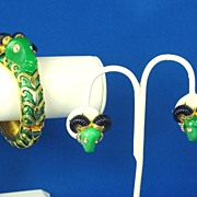 SALE Hattie Carnegie Enamel Rams Head Bracelet and Earrings