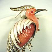 Vintage Unsigned Pink Thermoplastic Rhinestone Heron Pin
