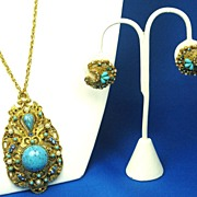 SALE Vintage Florenza Imitation Pearl & Glass Necklace and Earrings