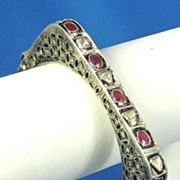 SOLD Antique Victorian 14kt Gold, Diamond, and Ruby Bracelet