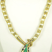 Imitation Pearl and Enamel Egyptian Revival Snake Necklace
