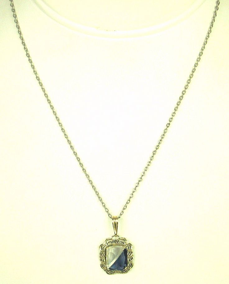 Vintage AMCO 1/20 12K Over Sterling and Glass Pendant Necklace