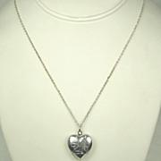 Vintage Signed Japan Heart Shaped Locket Pendant Necklace