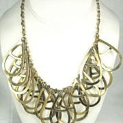 SALE Vintage Gold Tone Metal Tear Shaped Dangle Necklace