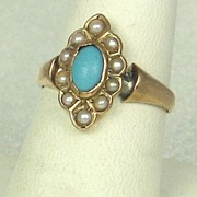 SALE Antique Victorian 14kt Gold, Cultured Pearl, and Turquoise Ring
