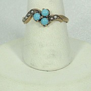 SALE Antique Victorian 10kt Gold, Cultured Pearl, and Turquoise Ring