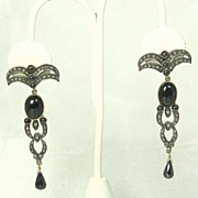 REDUCED Antique Victorian Black Spinel, Onyx, 14kt Gold, and Diamond Earrings