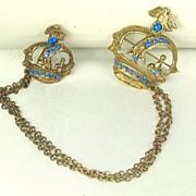 SALE Vintage Antique Blue Rhinestone and Brass Metal Dual Crown Pins