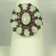 SOLD Vintage 18kt Gold, Ruby, and Opal Ring