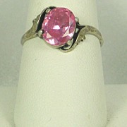 SALE Vintage 925 Sterling and Pink Topaz Ring