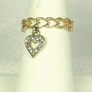 Vintage 18kt Gold Electroplate Heart Ring