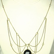 REDUCED Vintage Antique 9kt Gold, 3.00ct Opal, and Onyx Cameo Necklace