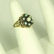 SALE 14kt Gold and White Opal Ring