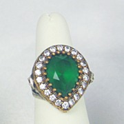 925 Sterling and Simulated Diamond, Ruby, and Emerald Ring