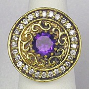 SALE Vintage Art Deco Style Sterling Silver 18kt Gold and Simulated Diamonds/Amethyst Ring