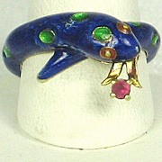 SALE Martine 14kt and 18kt Gold, French Enamel, and Ruby Snake Ring